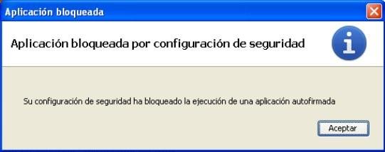 Mensaje aplicación bloqueada