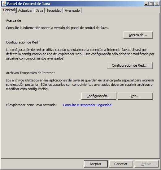 Panel control de Java