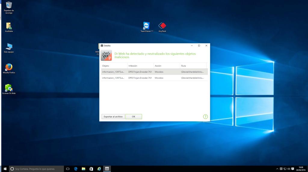 Captura de pantalla, con detección y bloqueo de ataque de encriptado.