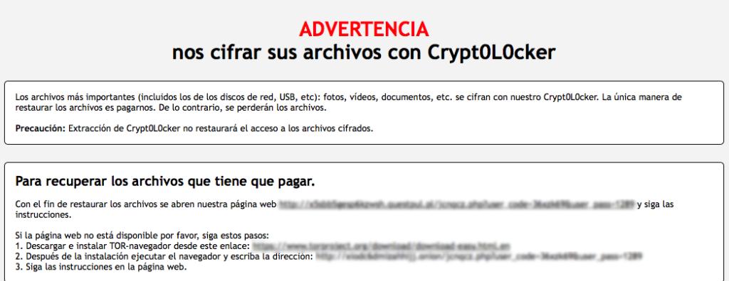 Pantalla de equiipo infectado por Cryptolocker 4